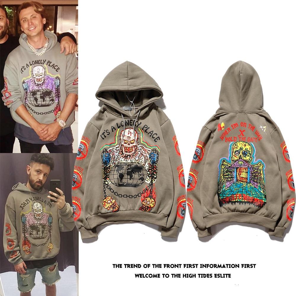 Kanye Hip Hop Graffiti Plus Velvet Hooded Sweatshirt  Xxxtentacion Streetwear Hoodie Men Harajuku Stranger Things Mens Hoodies