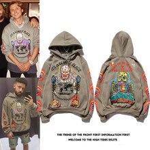 Kanye Hip Hop grafiti artı kadife kapüşonlu Sweatshirt Xxxtentacion Streetwear Hoodie erkekler Harajuku Stranger şeyler Mens Hoodies