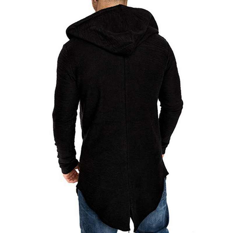 Novos homens com capuz sólido trench coat jaqueta cardigan manga longa outwear masculino outono inverno fino ajuste longo casaco topos