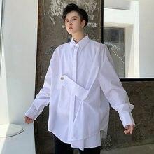 Botão homens de Manga Comprida Projeto Solta Casuais Camisa Masculina Do Vintage Da Moda Vestido de Festa Roupas de Palco Camisa