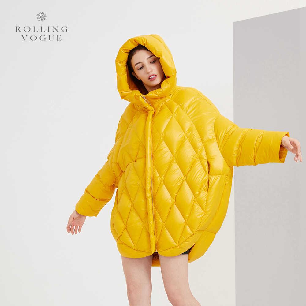 2019 新冬黄色ピンクフグ 90% 白アヒルダウンコートロング女性オーバーサイズストリートオーバーコートプラスサイズフード付き繭公園