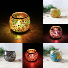 Assorted Colorful Mosaic Glass Candle Holder Bowl Tealight Votive Holder for Wedding Party Home Decor Birthday Good Blessing