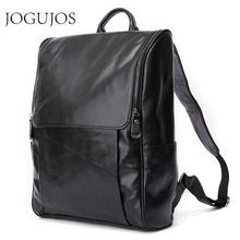 JOGUJOS Genuine Leather Men Backpack Causal 15 Laptop Vintage Travel Bags For Daypacks Mochila