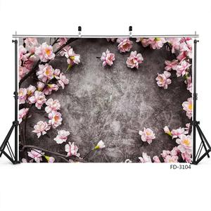 Image 2 - Pink Flowers Gray Wall Photo Backgrounds Vinyl Cloth Photobooth Backdrop for Children Baby Lovers Photocall Photography Props