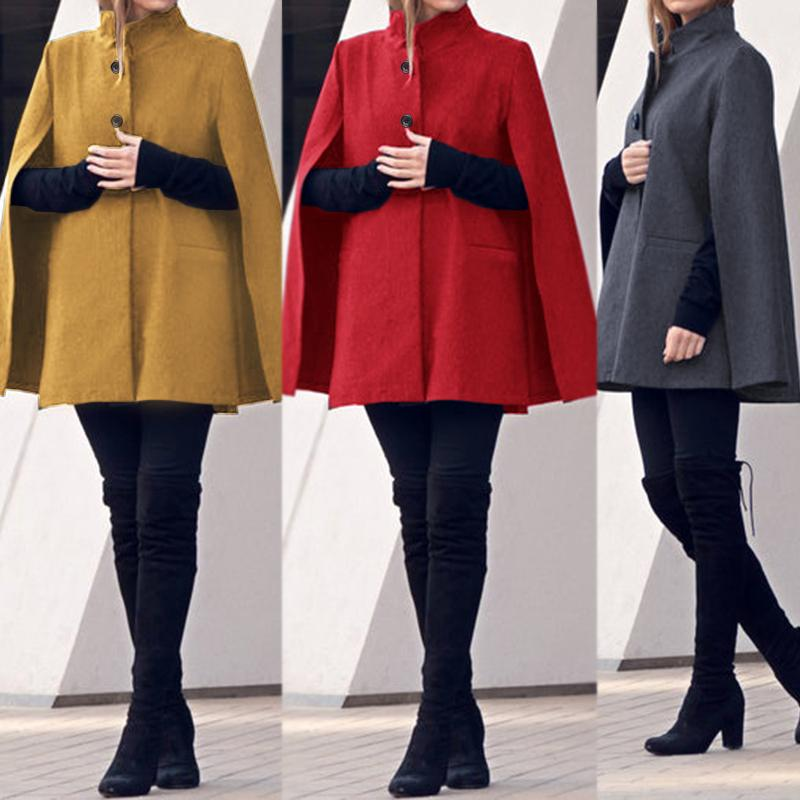 Kaftan Women's Cloak Cape Poncho Coats ZANZEA 2020 Spring Casual Button Sleeveless Jackets Cardigan Female Plus Size Outwear 7