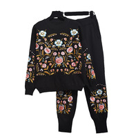YICIYA New Autumn Women Sequins Flowers Sweater Pants Set Long Sleeve Ladies Knit Tops Pullover + Pants Winter Fashion Ladies