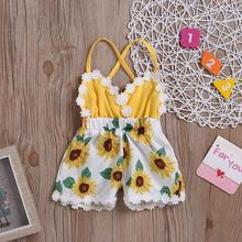 New summer girls' sunflower print embroidery suspender open back one-piece pants 0-3y summer dress for baby girl open back tribal print maxi dress