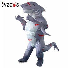 JYZCOS Inflatable Shark Costume for Adults Cartoon Halloween Carnival Cosplay Anime Party Fancy Dress Men Women Birthday Outfits chicken inflatable rooster rider costumes for adults halloween carnival cosplay party fancy dress women men birthday outfits red