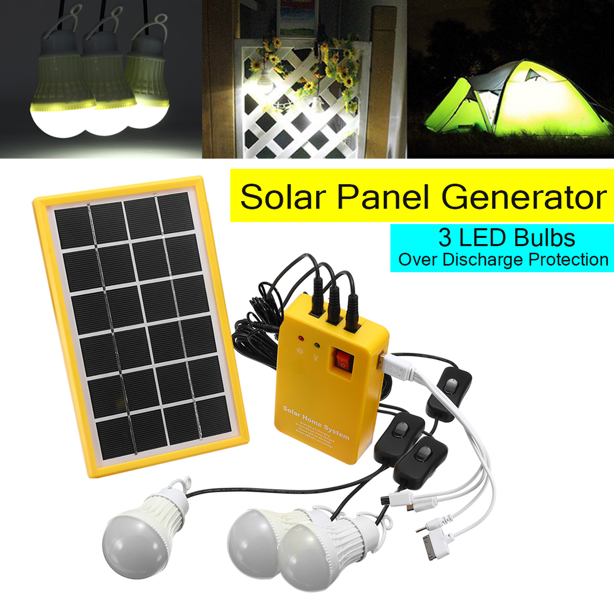 5V USB Charger Home System Solar Power Panel Generator Kit with 3 LED Bulbs Light Indoor Outdoor Lighting Over Discharge Protect