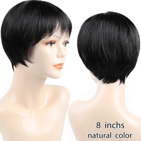 Non Lace Short Human Hair Wigs Pre Plucked Brazilian Straight Pixie Cut Bob Wigs with Bang For Black Women Non Remy Bling Hair Lahore