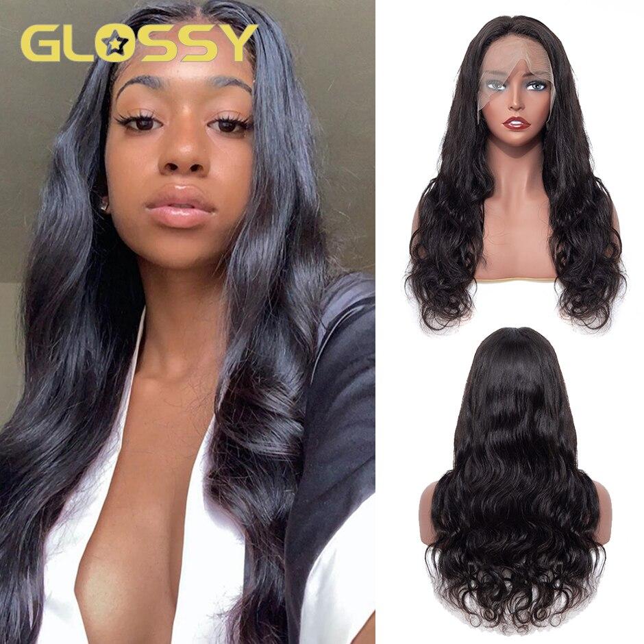 Глянцевый полностью кружевной передний парик, волнистые передние парики из человеческих волос, 16, 18, 24, 26 дюймов, длинный парик из человеческ...
