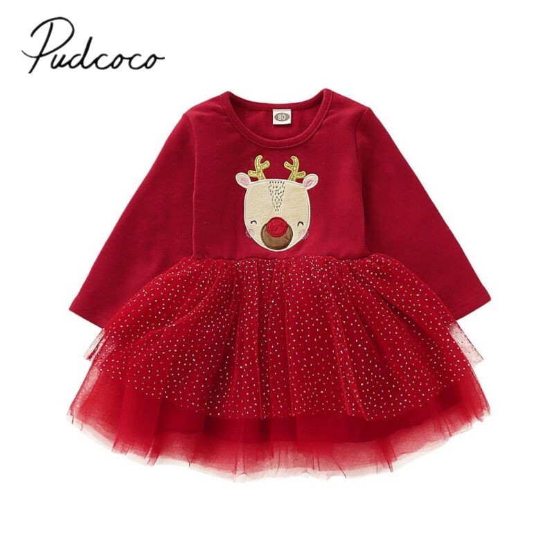 2019 Baby Spring Autumn Clothing Christmas Toddler Infant Baby Girl Xmas Clothes Long Sleeve Lace Tutu Mini Dress Santa Set 1 4T|Dresses| - AliExpress