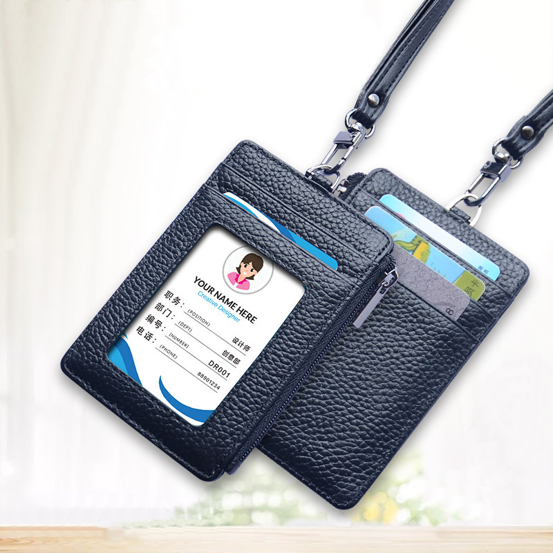 Card Badge Holder Lanyard Top Leather 2-Sided Card Set Slim Zip Coin Purse Bus Metro Card Cover Student Employee ID Card Case