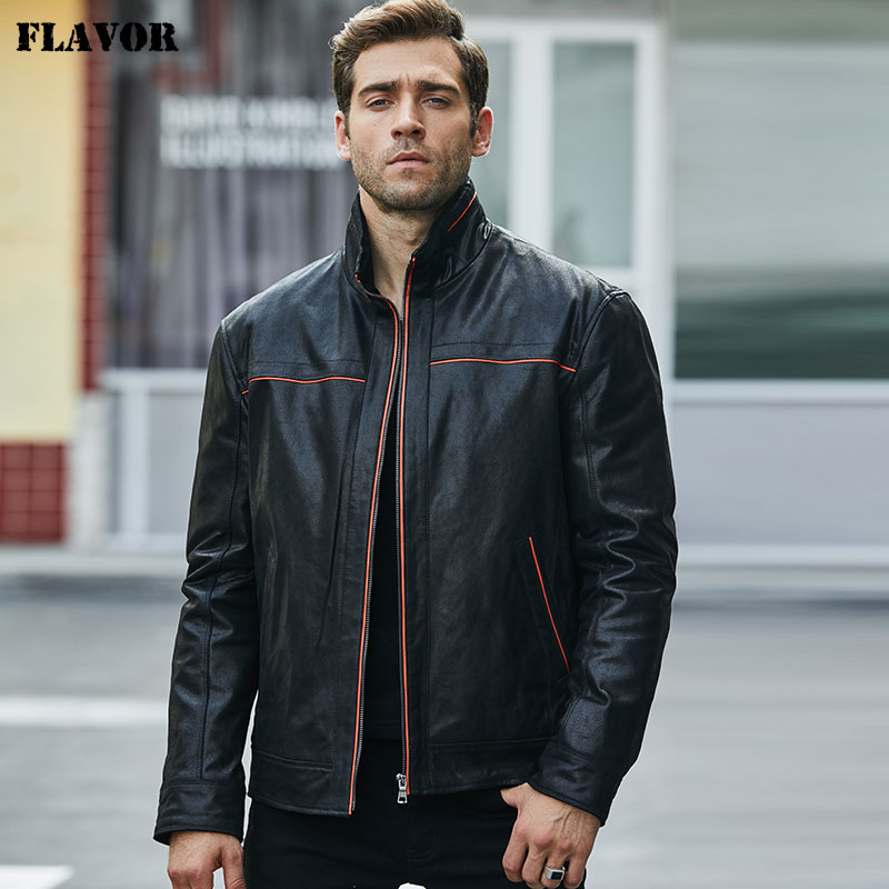 Flavor New Men's Real Leather Jacket Pigskin Jacket Casual Leather Coat Standing Collar