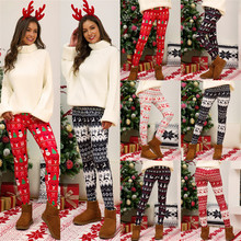 YELITE Women Christmas Leggings Snowflake Deer Print Leggings Girl Winter Legging Bottoms Women Clothing Jeggings Large Size plus size christmas elk snowflake jacquard leggings