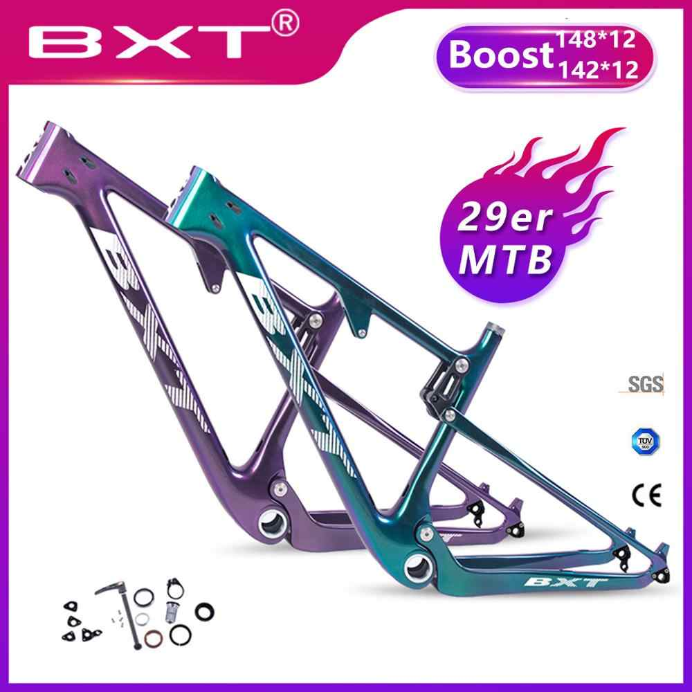BXT New carbon mountain bike 29 boost 142/148*12mm Shock Full Suspension MTB Frame 29er Downhill Bicycle for AM XC Free shipping