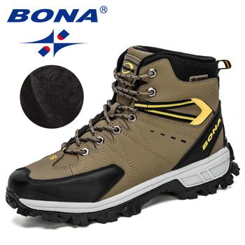 BONA 2020 nowi projektanci nubukowe buty górskie zimowe marki odkryte męskie buty trekkingowe Masculino wysokie góry pluszowe ciepłe śnieg obuwie tanie i dobre opinie RUBBER Lace-up Skórzane Pasuje prawda na wymiar weź swój normalny rozmiar Winter2019 Początkujący Dla dorosłych Oddychające
