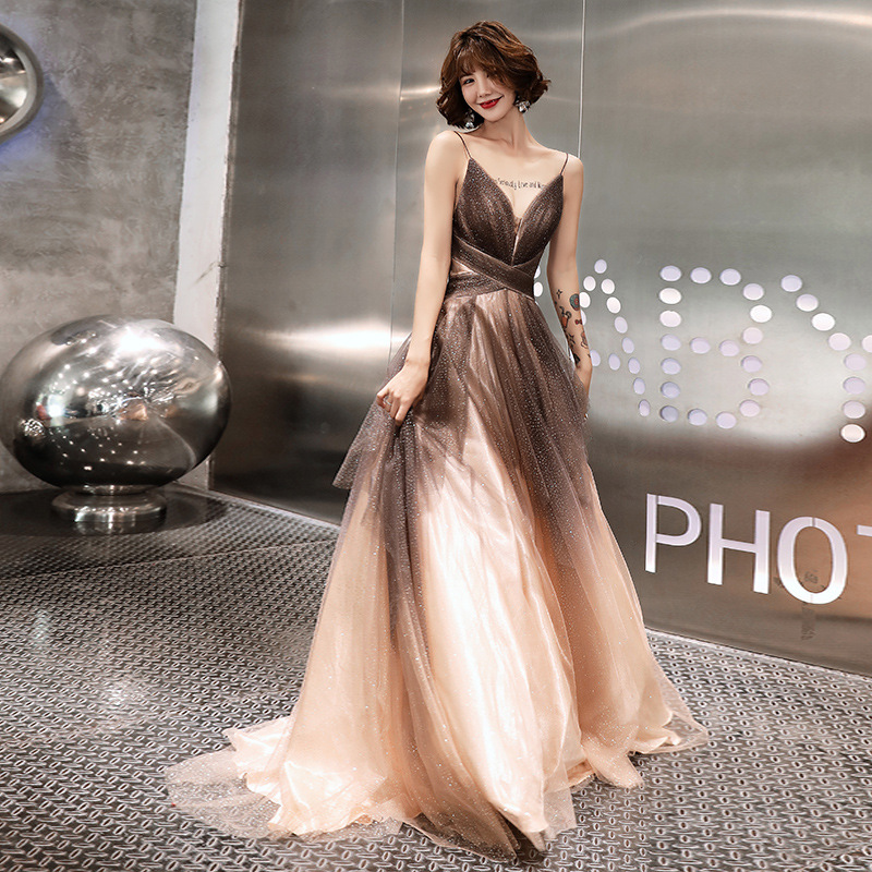 Sexy Evening Dresses V-Neck Sling Robe De Soiree K321 Gradient Sequin Elegant Party Dress A-Line Long Women Fomal Vestidos 2020