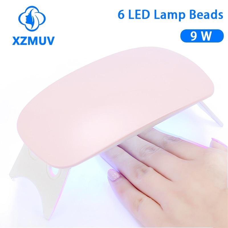 Мини-Сушилка для ногтей XZMUV, 6 Вт, портативная УФ-лампа для маникюра с 6 светодиодный и USB-кабелем для домашнего использования, лампа для сушки ногтей