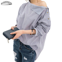 RONNYKISE Striped Shirts Womens Fashion Sexy Off Shoulder Skew Collar Long Sleeve Blouses Spring Autumn Casual Tops for Women