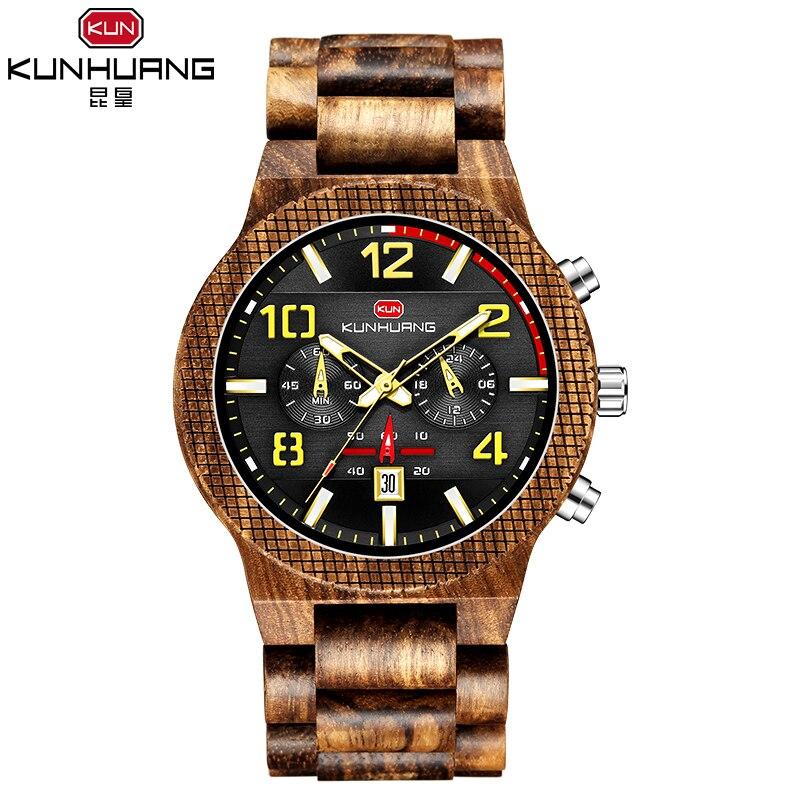 kun huang kh1015 relógio de madeira homem