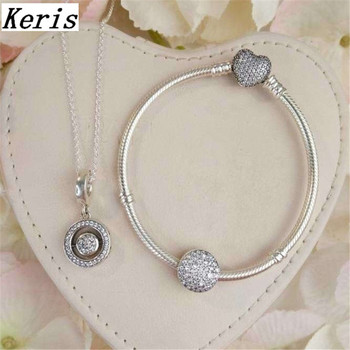 High Quality 1:1 100%925 Sterling Silver DIY Multi-Style Necklace Bracelet Set Free Of Charge