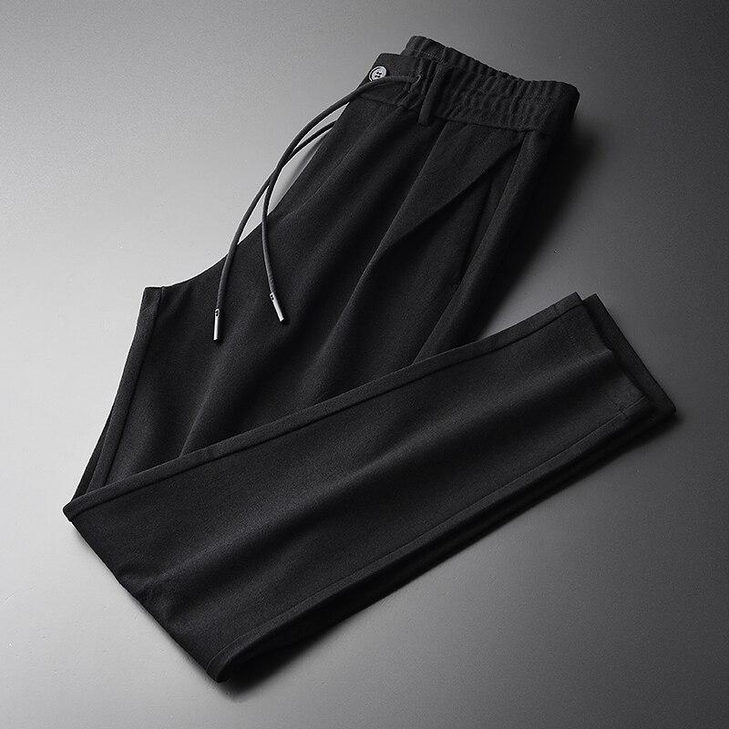 Soft Men Pants Plus Size 4xl Luxury Gigging Fabric Black Men Casual Pants Winter Elastic Waist Slim Fit Skinny Pants Men