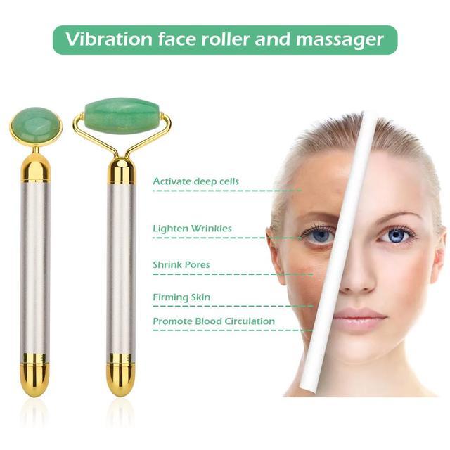 Electric Natural Rose Quartz Jade Roller Face Lifting Real Genuine Vibrating Green Jade Stone Facial Roller Beauty Massage Tool 3