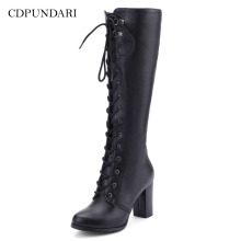 CDPUNDARI Black Winter boots Women High heels boots Ladies knee high boots Calf boots Shoes woman snow boots platform 4 8cm heels down flat women shoes black white blue mid calf boots fashion ladies winter boots plus size 44