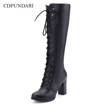 CDPUNDARI czarne buty do kolan jesienne długie buty zimowe damskie buty na wysokim obcasie buty motocyklowe damskie buty ze skórki cielęcej buty kobieta tanie i dobre opinie CN (pochodzenie) Podkolanówki Wiązanej krzyżowe Stałe knee high boots Dla dorosłych Plac heel Krótki pluszowe Okrągły nosek