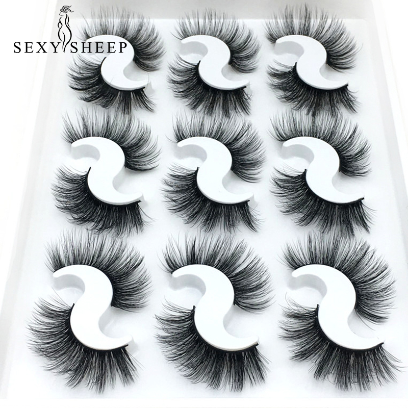 SEXYSHEEP 9 Pairs 6D Mink Lashes Natural False Eyelashes Dramatic Volume Fake Lashes Makeup Eyelash Extension Silk Eyelashes
