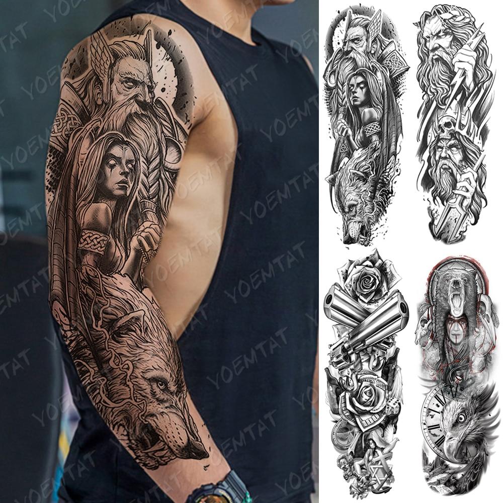 Large Arm Sleeve Tattoo  Bear Skull Waterproof Temporary Tatto Sticker God Zeus Poseidon Body Art Full Fake Tatoo Women Men