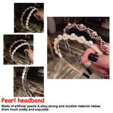 Korea Full Pearl Flower Hairbands Handmade High Quality Hair Accessories For Girls Bows Band Colorful Headbands Women