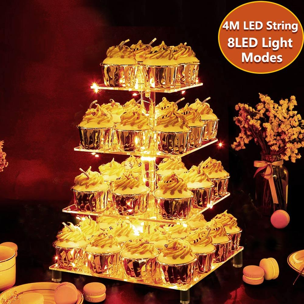 4pcs//Set Cupcake Holder Dessert Display Stands Wedding Favors Blue+Yellow