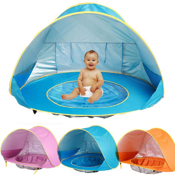Folding Baby Beach Tent Children Waterproof Pop Awning Tent Protecting Sunshelter with Pool Kid Outdoor Camping Sunshade Beach baby bedding crib netting beach tent uv protecting sun shelter waterproof awning tent outdoor camping sunshade bed mosquito nets