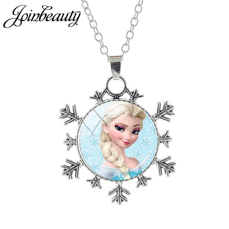 JOINBEAUTY Принцесса Эльза Анна снег кулон в виде королевы Ожерелье Дамы Снежинка Длинная цепочка Ювелирные изделия стекло кабошон для девочек SQ03 - Окраска металла: SQ17-25