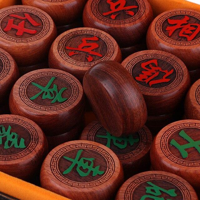 Jeu d'échecs chinois traditionnel de luxe Xiangqi avec des pièces en damier et en palissandre 5