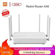 Oryginalny Xiaomi Redmi Router AX6 dwupasmowy Mesh Home IoT 6 wzmacniacz sygnału 2402Mbps Router bezprzewodowy Wifi6 tanie tanio wireless 1x10 100 1000 Mbps Wi-fi 802 11g Firewall Domu 2x2 (supports up to IEEE 802 11ax protocol 574Mbps Typical) 4x4 (supports up to IEEE 802 11ax protocol 2402Mbps Typical)