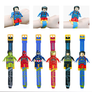 Super Heroes Toy Watch Building Blocks Marvel Spider man Superman Batman Action Figure Toys For Children New Year's Gift(China)