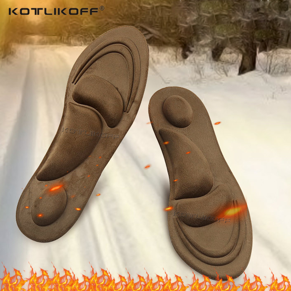 4D Fluff Keep Warm Heated Insoles Orthotic Sole Shoe Arch Support Orthopedic Insoles For Shoes Insert For Man Woman Boots Pad
