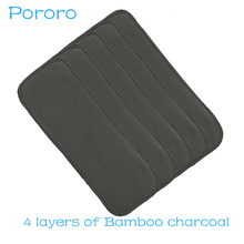 [Pororo]5PCS Reusable Bamboo Charcoal Insert Baby Cloth Diaper Mat Nappy Inserts Changing Liners 4layer each insert Wholesale цена 2017
