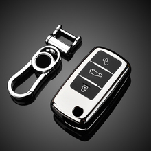 New TPU car key case for VW Golf Bora Jetta POLO GOLF Passat Skoda octevia A5 Fabia seat Leon Keychain Bag Remote Fob Cover car speaker adapter for vw golf iv passat polo skoda seat leon audi speaker adaptors rings 165mm 6 5 kit spacers