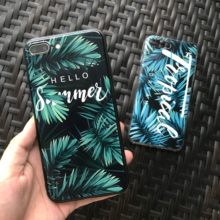 For iphone 7 8 Plus 6s Emboss Green Leaf Phone Case For Iphone X XS 6 6s 7 8 8plus Black Leaf Text Soft Silicone Cover Case leaf print iphone case