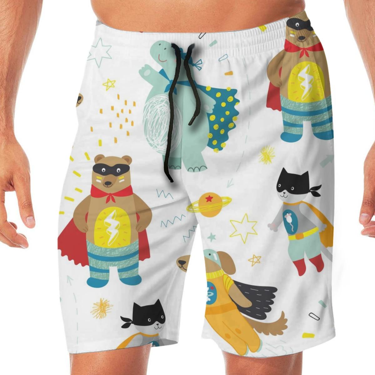 Men Casual Summer Hawaiian Beach Pants Half Trousers Cute Kids Superhero With Dog Cat Bear And Hippo