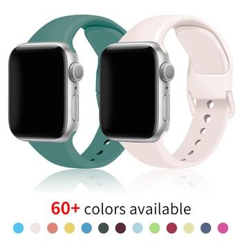 Ремешок спортивный мягкий силиконовый для Apple Watch Se 6 5 4 Series 40 мм 44 мм, резиновый браслет для смарт часов Iwatch 3 2 38 мм 42 мм|Ремешки для часов|   | АлиЭкспресс