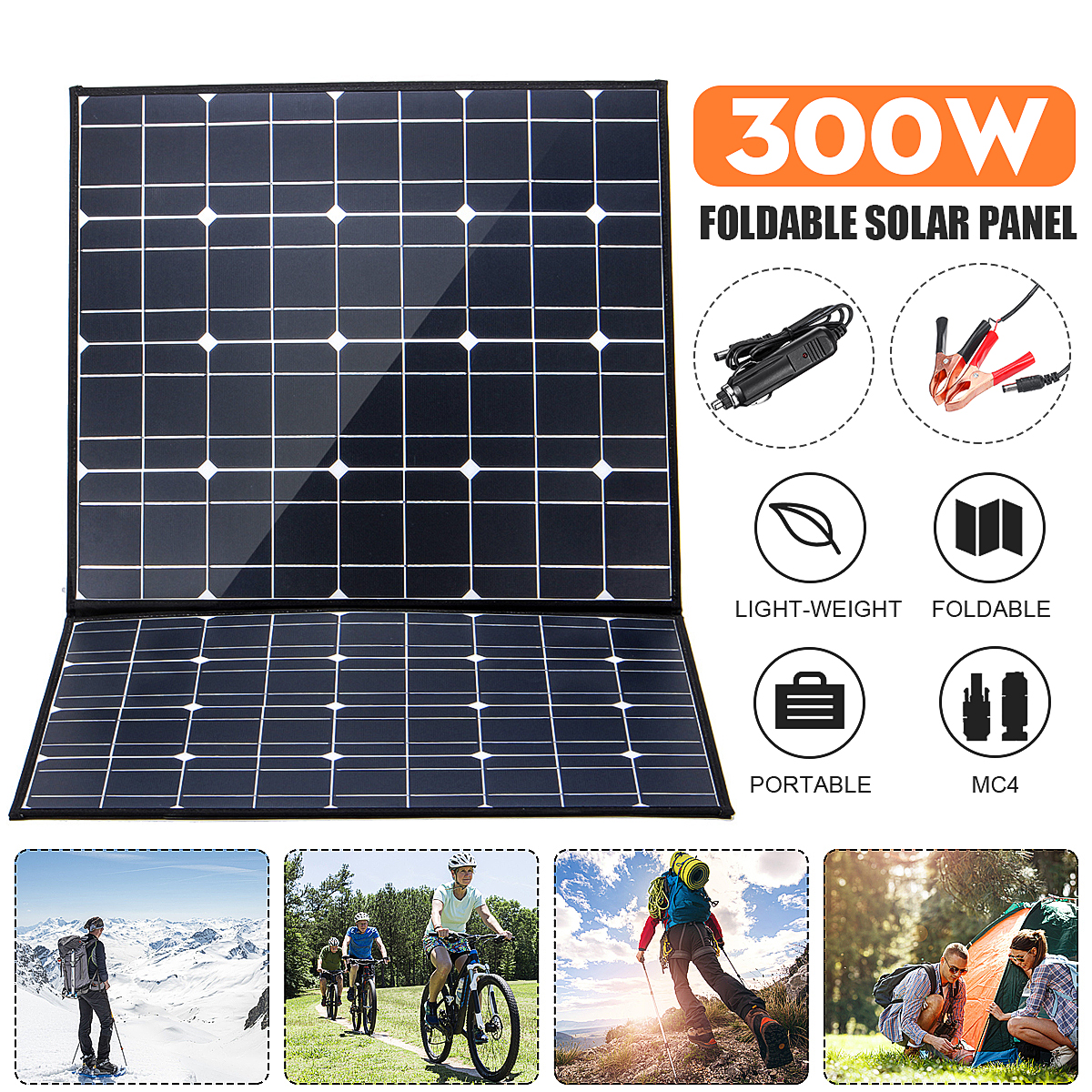 NB2-120 18V <font><b>300W</b></font> Monocrystallinel Folding <font><b>Solar</b></font> <font><b>Panel</b></font> Package with 1.5m for MC4 Cable+USB Interface for Outdoor Working image