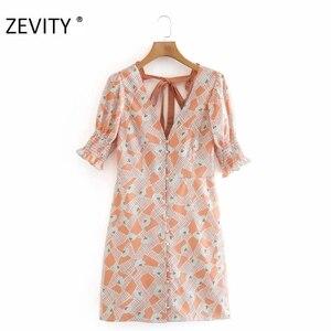 Женское платье с v-образным вырезом ZEVITY, повседневное мини-платье с v-образным вырезом, бантом и лентой сзади, DS4285