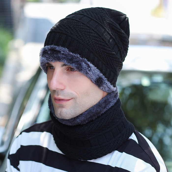 Wholesale Fashion Men Knitted Hat Scarf Winter Warming Beanie Hats Cap for Outdoor Decor X85