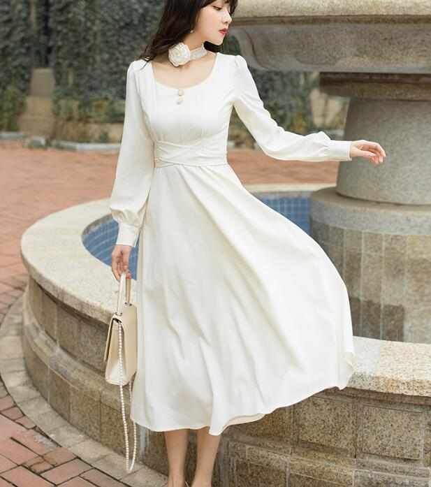 2020 Spring New Arrival High Quality Elegant Round Collar Collect Waist Women Long Dress White