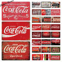 Cola Tin Sign Vintage Metal Sign Plaque Metal Vintage Pub Retro Wall Decor for Bar Pub Club Man Cave Metal Posters